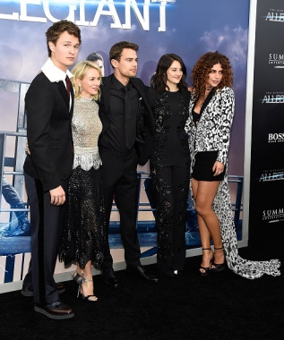 """NEW YORK, NY - MARCH 14: Ansel Elgort, Naomi Watts, Theo James, Shailene Woodley and Nadia Hilker attend """"Allegiant"""" New York premiere at AMC Loews Lincoln Square 13 theater on March 14, 2016 in New York City. (Photo by Kevin Mazur/WireImage)"""